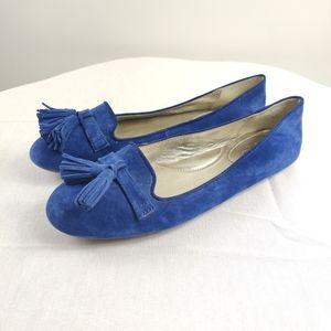 Coach deadra cobalt blue tasseled suede flats